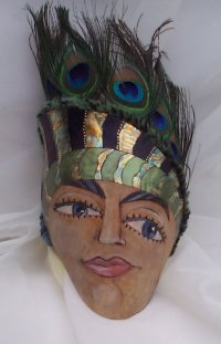 Peacock Lady Gourd Mask