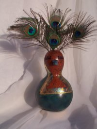 Bird With Peacock Feather Headdress Embellished Gourd