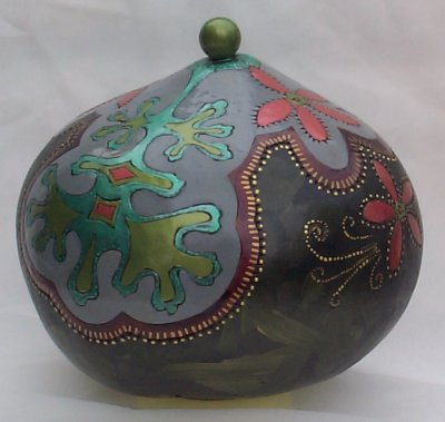 Art Nouveau Geraniums Decorative Gourd
